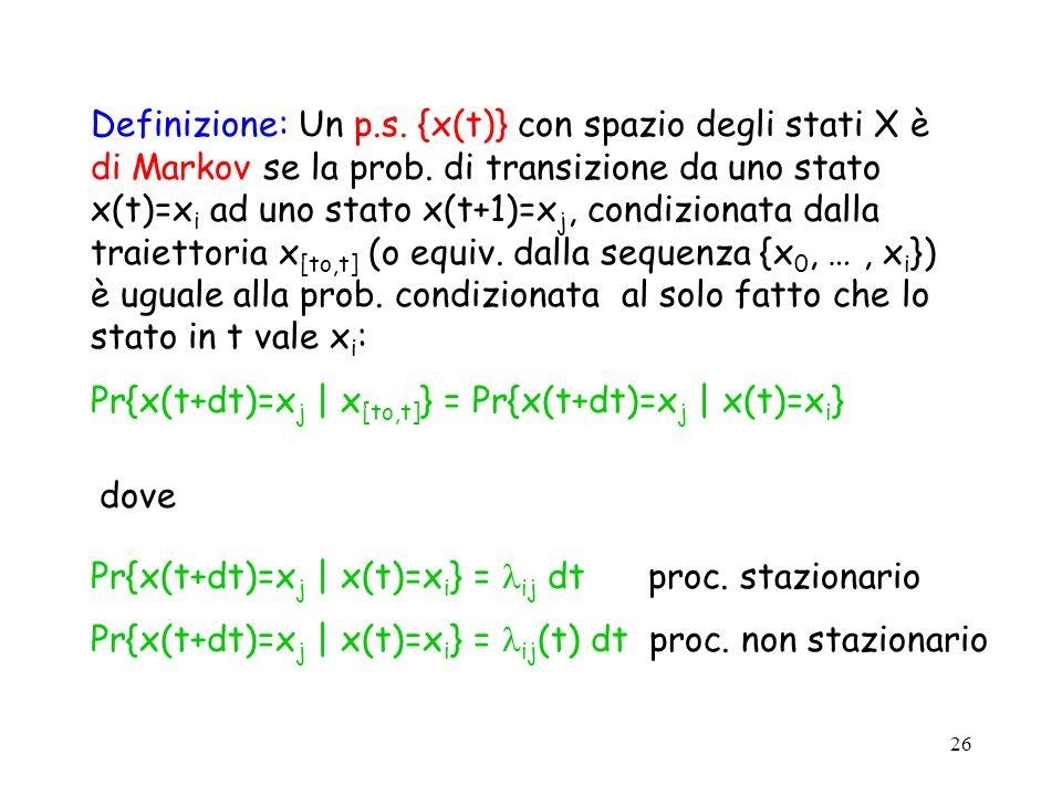 26 Definizione: Un p.s. {x(t)} con spazio degli stati X è di Markov se la prob.