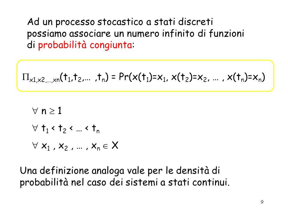 9 Ad un processo stocastico a stati discreti possiamo associare un numero infinito di funzioni di probabilità congiunta: x1,x2,…,xn (t 1,t 2,…,t n ) = Pr(x(t 1 )=x 1, x(t 2 )=x 2, …, x(t n )=x n ) n 1 t 1 < t 2 < … < t n x 1, x 2, …, x n X Una definizione analoga vale per le densità di probabilità nel caso dei sistemi a stati continui.