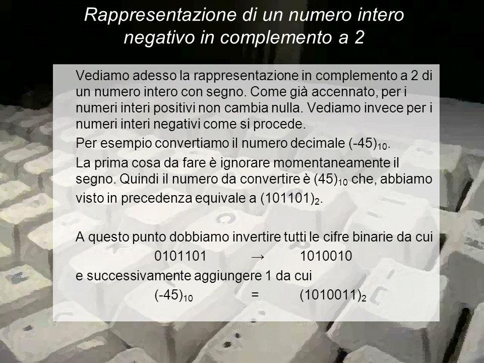 Rappresentazione di un numero intero negativo in complemento a 2 Vediamo adesso la rappresentazione in complemento a 2 di un numero intero con segno.