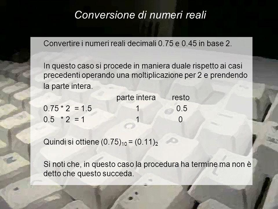 Conversione di numeri reali Convertire i numeri reali decimali 0.75 e 0.45 in base 2.