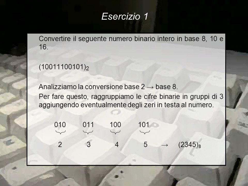 Convertire il seguente numero binario intero in base 8, 10 e 16.