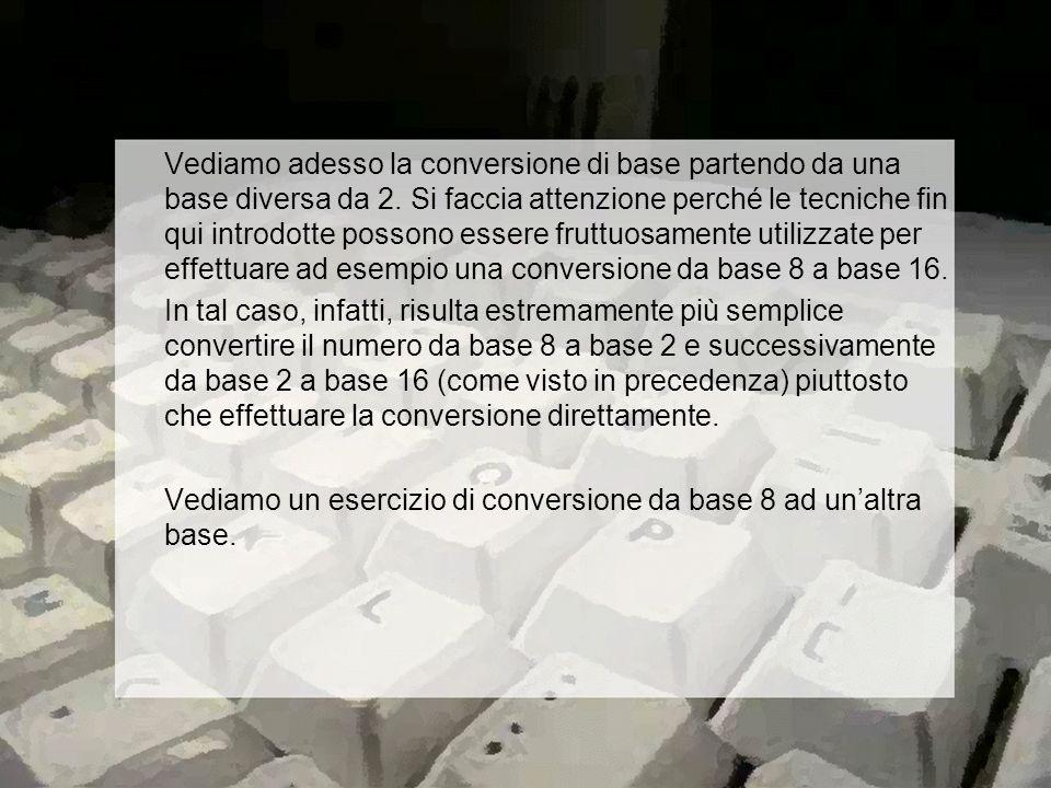 Vediamo adesso la conversione di base partendo da una base diversa da 2.