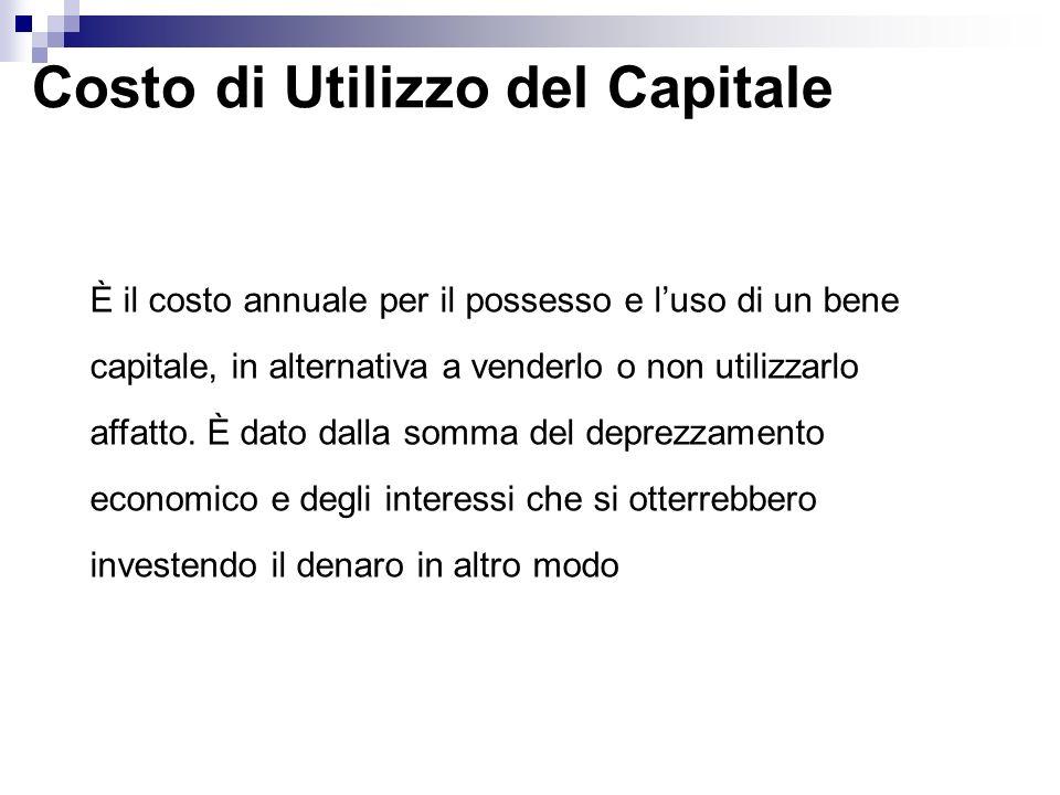 Costo di Utilizzo del Capitale È il costo annuale per il possesso e luso di un bene capitale, in alternativa a venderlo o non utilizzarlo affatto. È d
