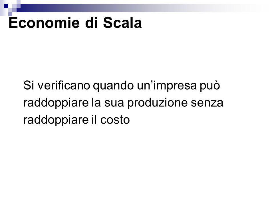 Economie di Scala Si verificano quando unimpresa può raddoppiare la sua produzione senza raddoppiare il costo
