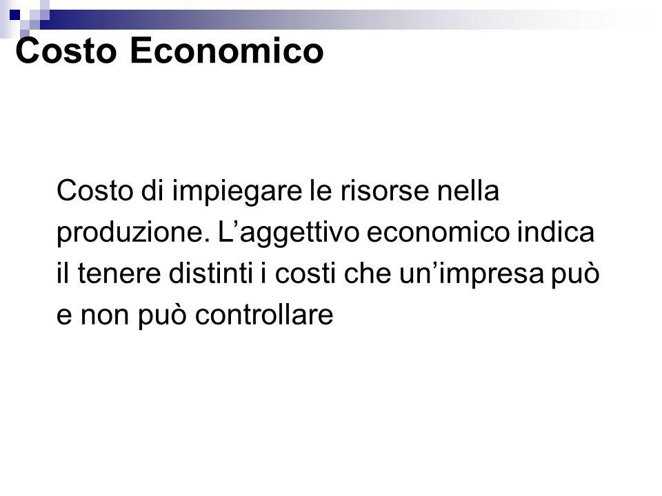 Costo Economico Costo di impiegare le risorse nella produzione. Laggettivo economico indica il tenere distinti i costi che unimpresa può e non può con