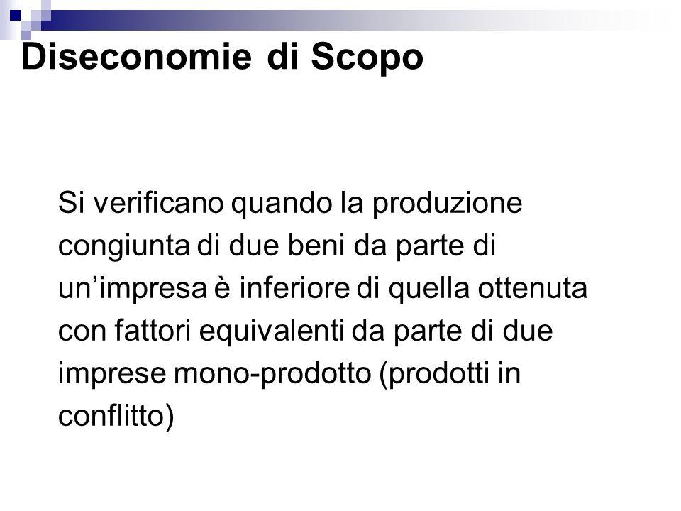 Diseconomie di Scopo Si verificano quando la produzione congiunta di due beni da parte di unimpresa è inferiore di quella ottenuta con fattori equival