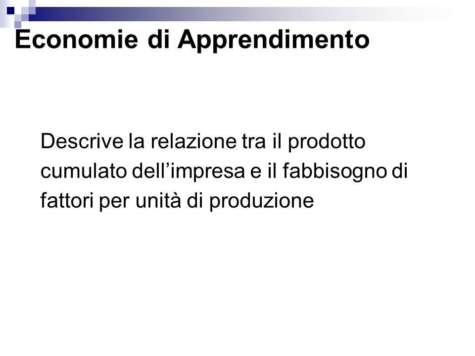 Economie di Apprendimento Descrive la relazione tra il prodotto cumulato dellimpresa e il fabbisogno di fattori per unità di produzione