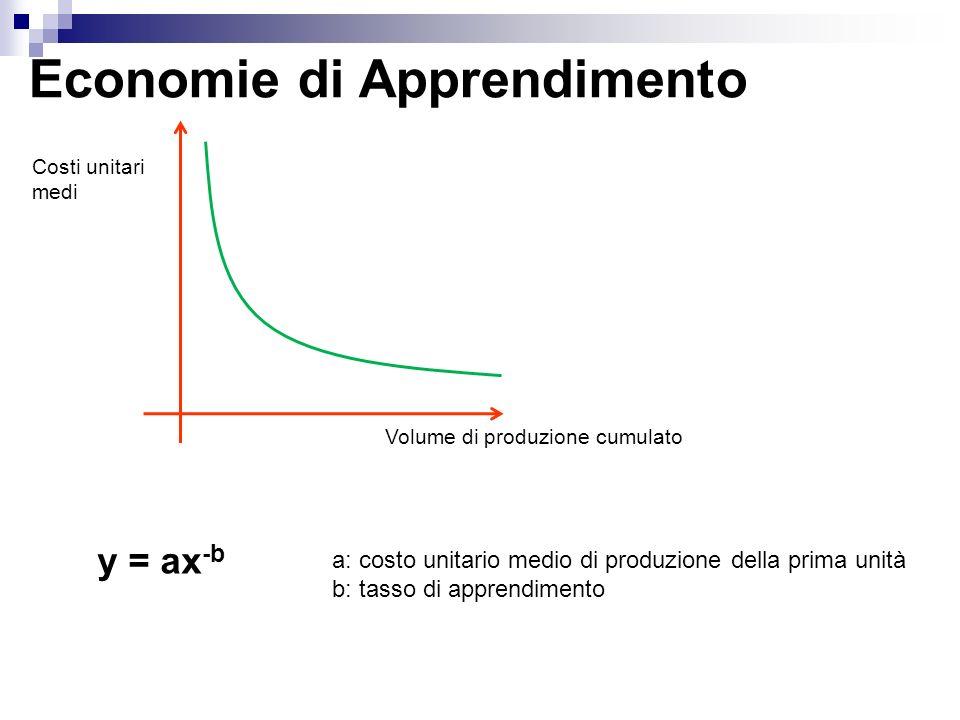 Economie di Apprendimento Costi unitari medi Volume di produzione cumulato a: costo unitario medio di produzione della prima unità b: tasso di apprend