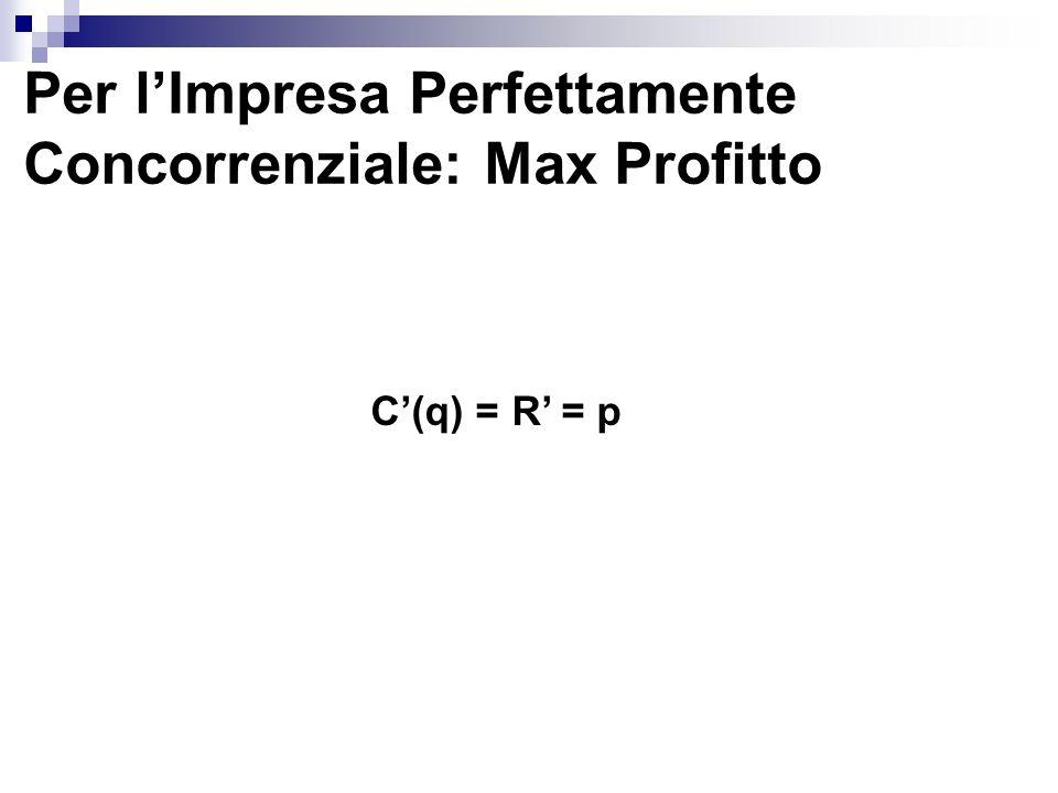 Massimizzazione del Profitto Prezzo C CMT q* Quantità RM = P A B C D