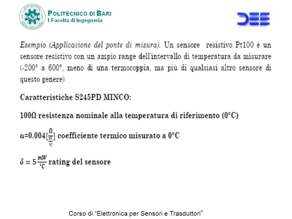 Range di misura: -10° +50° Campo di valori : -1 +5V Errore : <0.5% della lettura tollerando un errore dello 0.2% FSO legato allautoriscaldamento del sensore per effetto Joule.