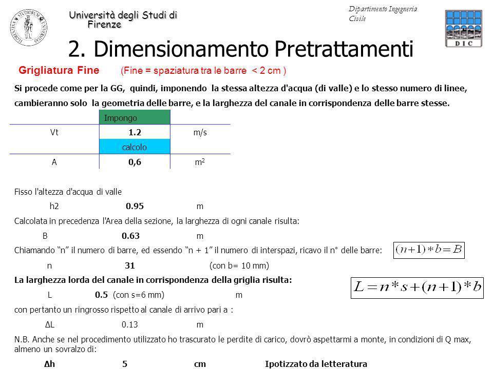 2. Dimensionamento Pretrattamenti Università degli Studi di Firenze Dipartimento Ingegneria Civile Si procede come per la GG, quindi, imponendo la ste