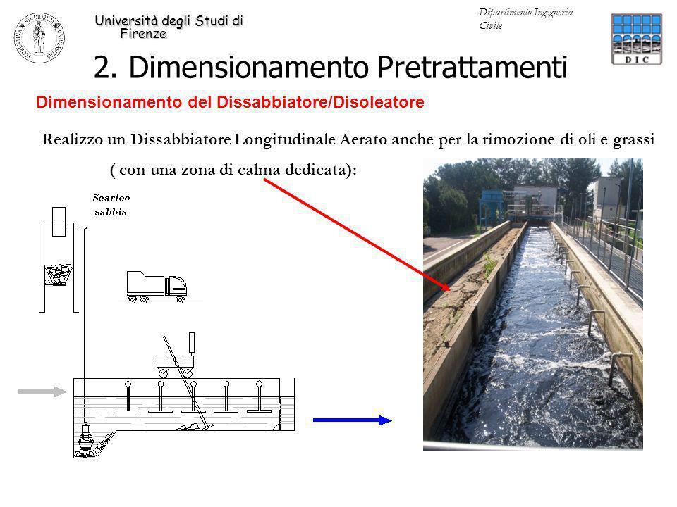2. Dimensionamento Pretrattamenti Università degli Studi di Firenze Dipartimento Ingegneria Civile Dimensionamento del Dissabbiatore/Disoleatore Reali