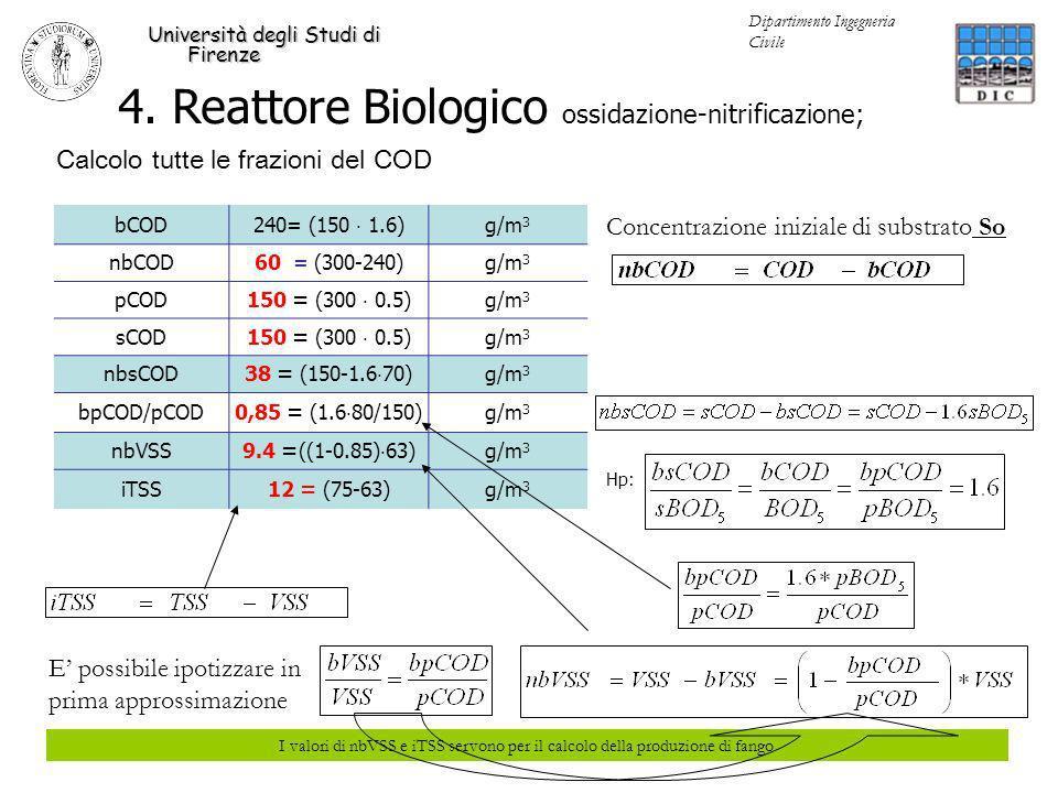 4. Reattore Biologico ossidazione-nitrificazione; Università degli Studi di Firenze Dipartimento Ingegneria Civile Calcolo tutte le frazioni del COD b