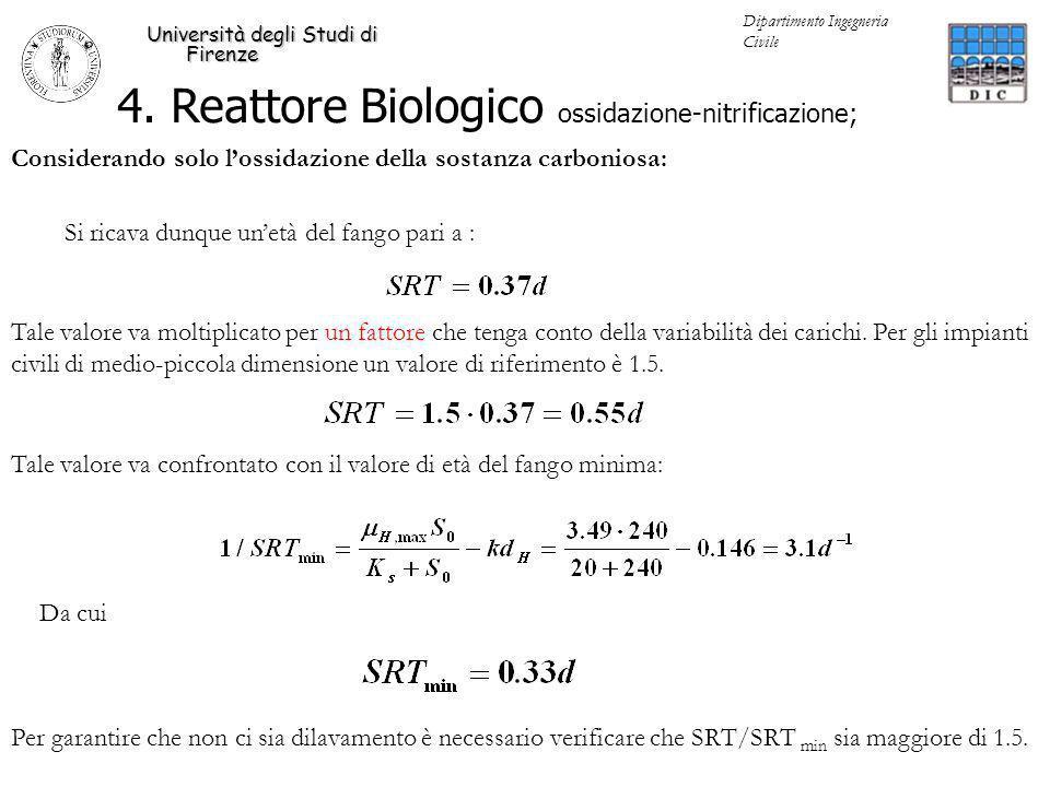 4. Reattore Biologico ossidazione-nitrificazione; Università degli Studi di Firenze Dipartimento Ingegneria Civile Considerando solo lossidazione dell