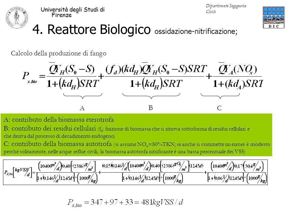 4. Reattore Biologico ossidazione-nitrificazione; Università degli Studi di Firenze Dipartimento Ingegneria Civile A B C Calcolo della produzione di f