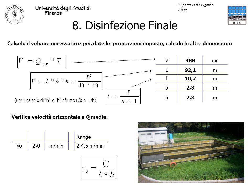 Verifica velocità orizzontale a Q media: Range Vo2,0m/min 2-4,5 m/min 8. Disinfezione Finale Università degli Studi di Firenze Dipartimento Ingegneria