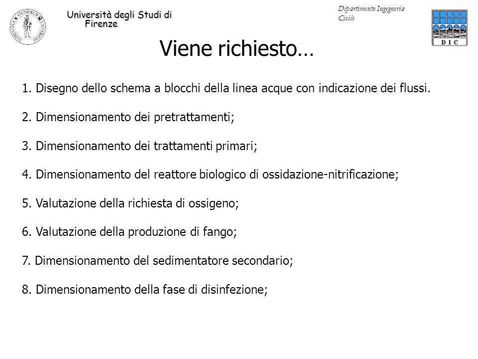 Viene richiesto… Università degli Studi di Firenze Dipartimento Ingegneria Civile 1. Disegno dello schema a blocchi della linea acque con indicazione