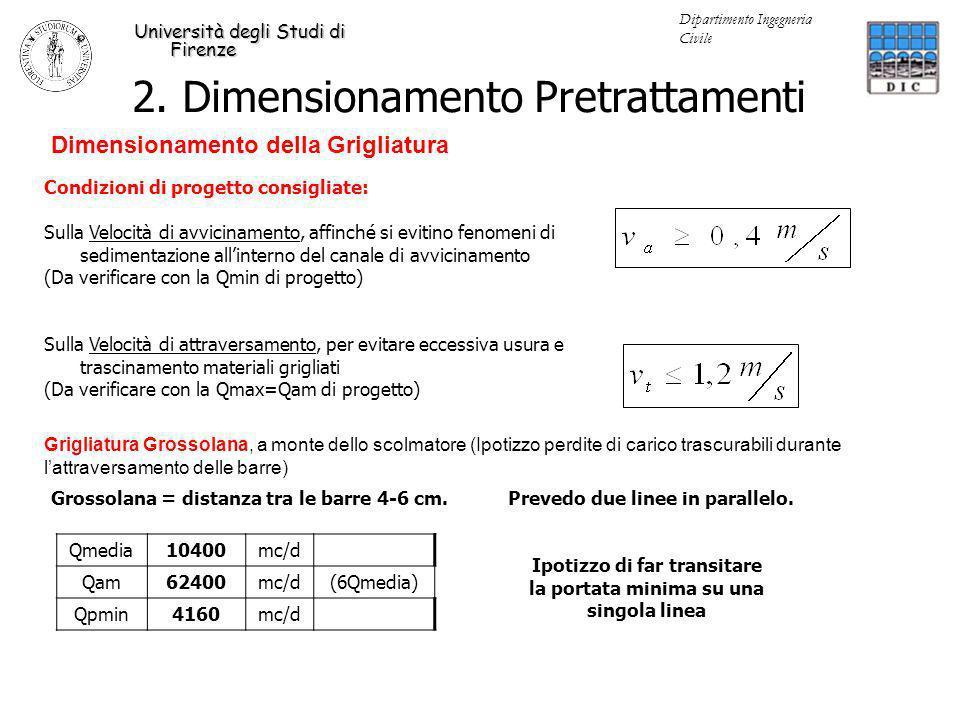 Università degli Studi di Firenze Dipartimento Ingegneria Civile Fissata letà del fango (12.45 d) abbiamo ricavato la produzione di biomassa attiva eterotrofa (termine A della precedente formula) X H (352 Kg VSS/d) e di solidi sospesi totali (789.3 KgTSS/d) Da questo ultimo dato è possibile, calcolare la massa di TSS che devo tenere dentro i reattori biologici (massa di MLTSS= mixed liquor total suspended solids): Massa di MLTSS = 12.71 d 788.5 KgTSS/d = 10023 Kg Impongo MLTSS = 4 Kg/m 3 Quindi possiamo ricavare il volume del reattore biologico definendo una concentrazione di solidi, il cui range è solitamente compreso fra 2 e 6 Kg/m3 V = 10023 Kg/ (4 Kg /m 3 ) = 2456 m 3 HRT = V/Q = 2505 m 3 / (10400 m 3 /d) = 5.8 h E il tempo di ritenzione idraulica: