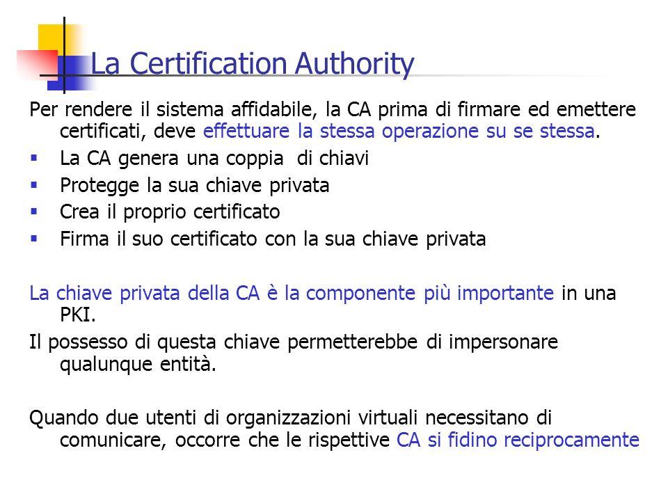 La Certification Authority Per rendere il sistema affidabile, la CA prima di firmare ed emettere certificati, deve effettuare la stessa operazione su