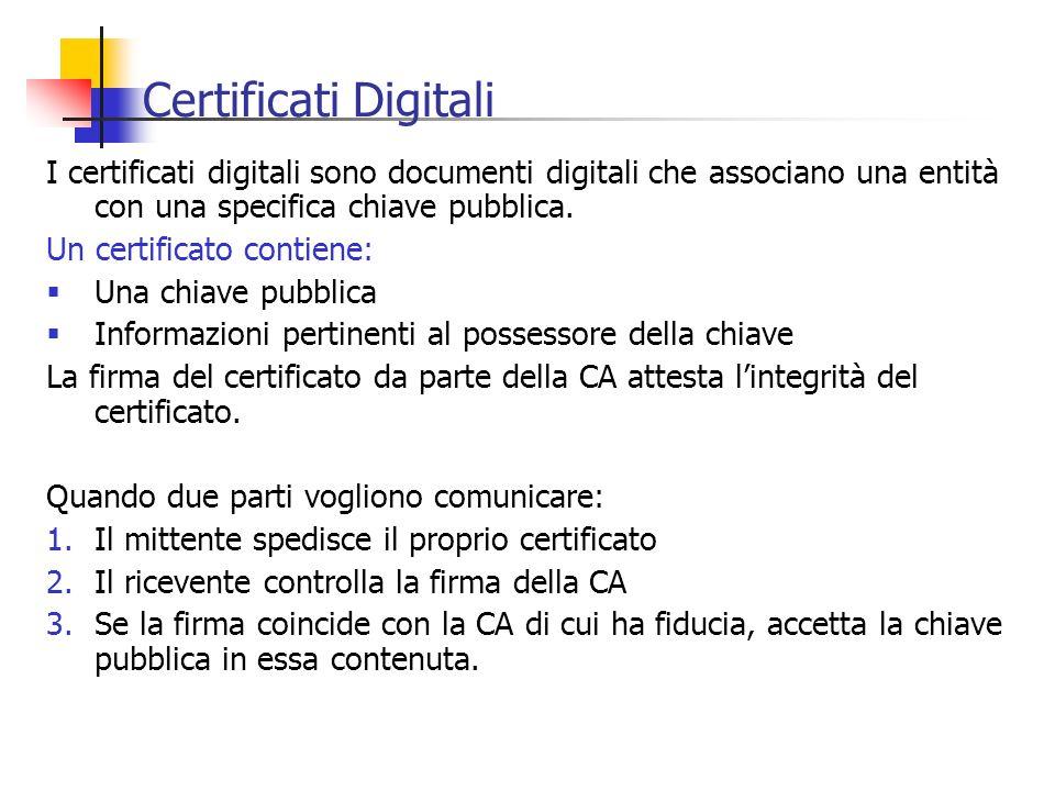 Certificati Digitali I certificati digitali sono documenti digitali che associano una entità con una specifica chiave pubblica. Un certificato contien