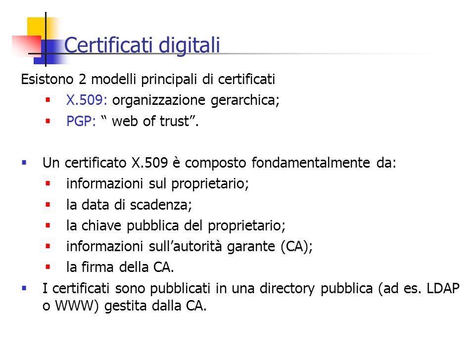 Certificati digitali Esistono 2 modelli principali di certificati X.509: organizzazione gerarchica; PGP: web of trust. Un certificato X.509 è composto