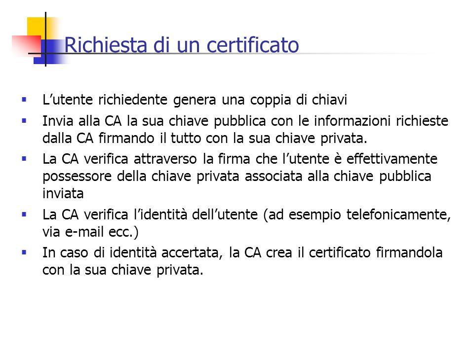 Richiesta di un certificato Lutente richiedente genera una coppia di chiavi Invia alla CA la sua chiave pubblica con le informazioni richieste dalla C