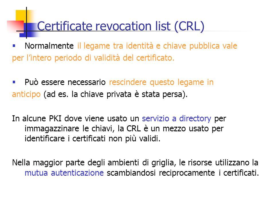 Certificate revocation list (CRL) Normalmente il legame tra identità e chiave pubblica vale per lintero periodo di validità del certificato. Può esser