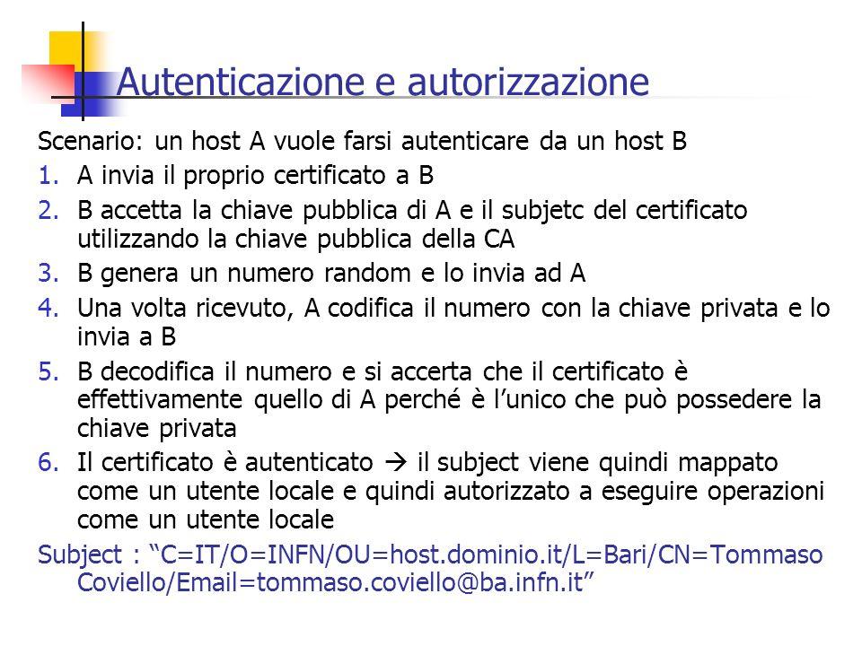 Autenticazione e autorizzazione Scenario: un host A vuole farsi autenticare da un host B 1.A invia il proprio certificato a B 2.B accetta la chiave pu