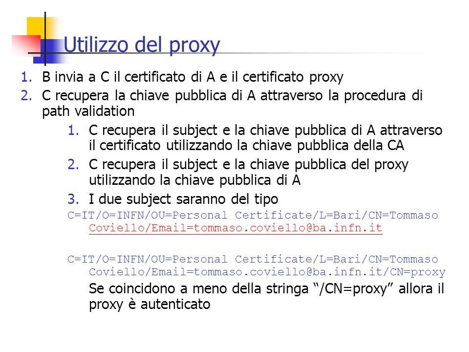 Utilizzo del proxy 1.B invia a C il certificato di A e il certificato proxy 2.C recupera la chiave pubblica di A attraverso la procedura di path valid