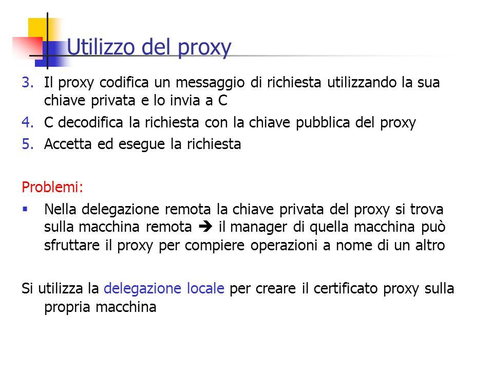 Utilizzo del proxy 3.Il proxy codifica un messaggio di richiesta utilizzando la sua chiave privata e lo invia a C 4.C decodifica la richiesta con la c