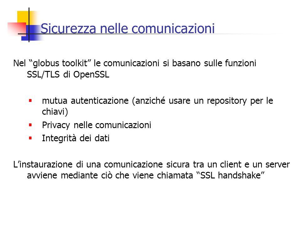 Sicurezza nelle comunicazioni Nel globus toolkit le comunicazioni si basano sulle funzioni SSL/TLS di OpenSSL mutua autenticazione (anziché usare un r