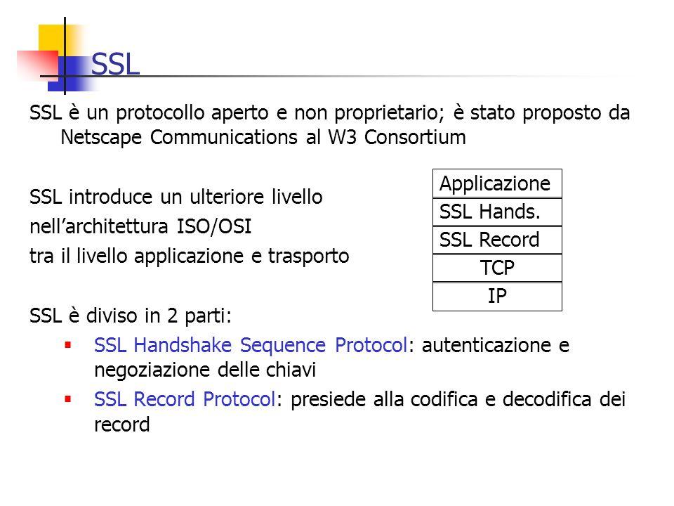 SSL SSL è un protocollo aperto e non proprietario; è stato proposto da Netscape Communications al W3 Consortium SSL introduce un ulteriore livello nel