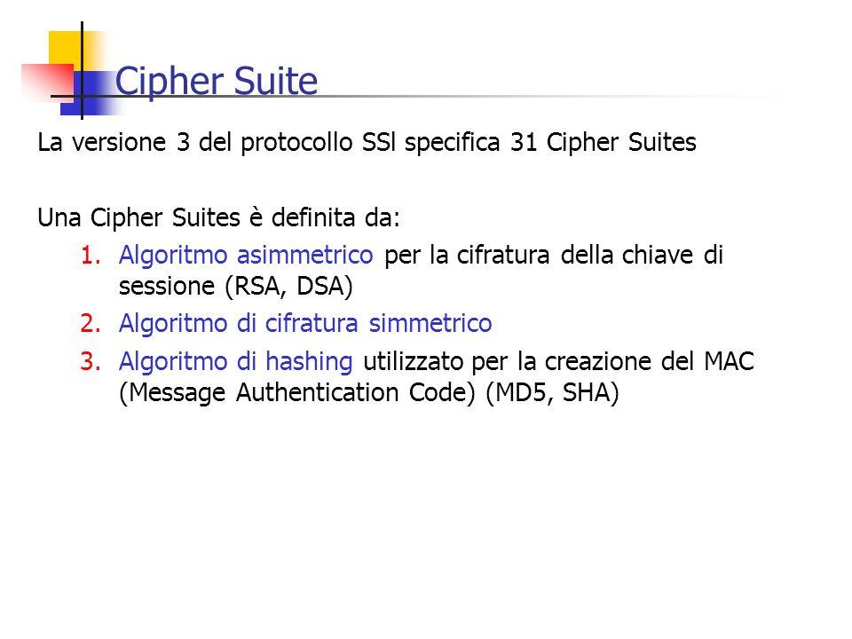 Cipher Suite La versione 3 del protocollo SSl specifica 31 Cipher Suites Una Cipher Suites è definita da: 1.Algoritmo asimmetrico per la cifratura del