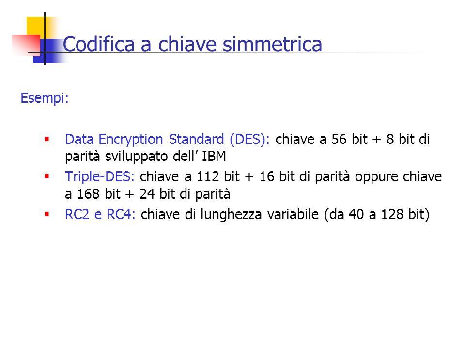 Codifica a chiave simmetrica Esempi: Data Encryption Standard (DES): chiave a 56 bit + 8 bit di parità sviluppato dell IBM Triple-DES: chiave a 112 bi