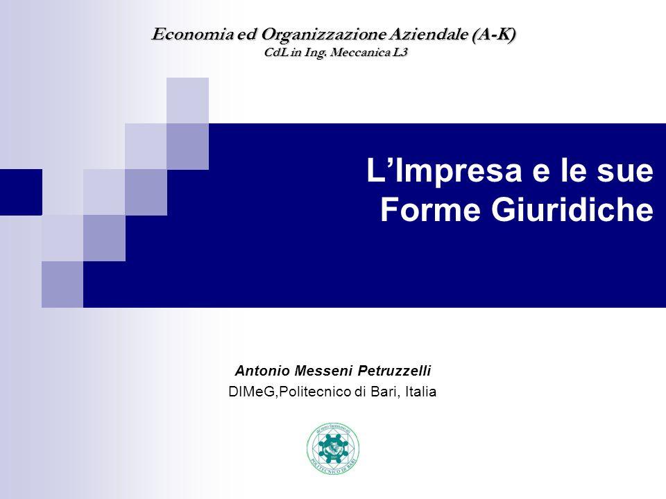 Antonio Messeni Petruzzelli DIMeG,Politecnico di Bari, Italia Economia ed Organizzazione Aziendale (A-K) CdL in Ing. Meccanica L3 CdL in Ing. Meccanic