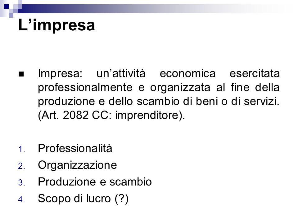 Limpresa Impresa: unattività economica esercitata professionalmente e organizzata al fine della produzione e dello scambio di beni o di servizi. (Art.