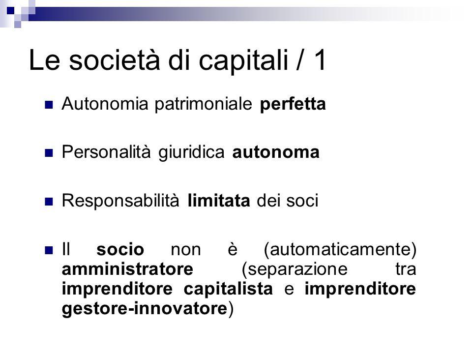 Le società di capitali / 1 Autonomia patrimoniale perfetta Personalità giuridica autonoma Responsabilità limitata dei soci Il socio non è (automaticam