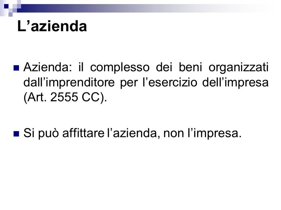 Lazienda Azienda: il complesso dei beni organizzati dallimprenditore per lesercizio dellimpresa (Art. 2555 CC). Si può affittare lazienda, non limpres