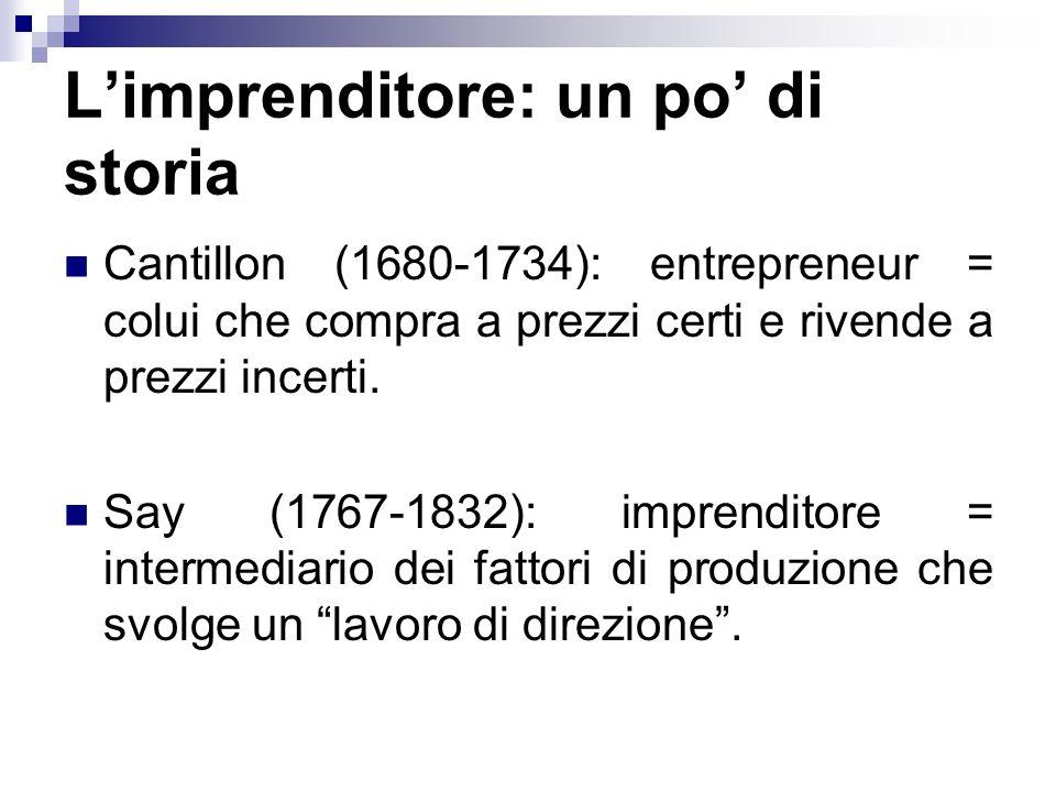 Limprenditore: un po di storia Cantillon (1680-1734): entrepreneur = colui che compra a prezzi certi e rivende a prezzi incerti. Say (1767-1832): impr