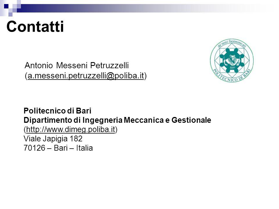 Antonio Messeni Petruzzelli (a.messeni.petruzzelli@poliba.it) Politecnico di Bari Dipartimento di Ingegneria Meccanica e Gestionale (http://www.dimeg.poliba.it) Viale Japigia 182 70126 – Bari – Italia Contatti