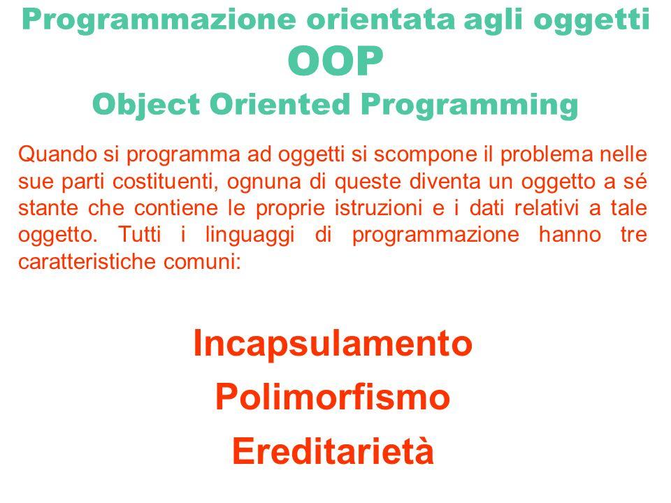 Incapsulamento Tutti i programmi sono composti da codice e dati.
