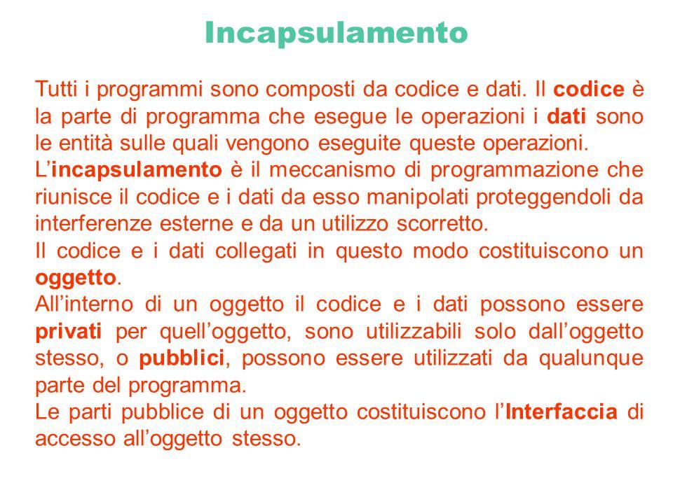 Incapsulamento Tutti i programmi sono composti da codice e dati. Il codice è la parte di programma che esegue le operazioni i dati sono le entità sull