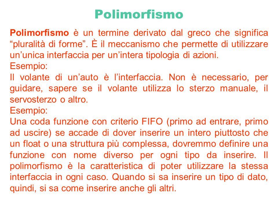 Polimorfismo Polimorfismo è un termine derivato dal greco che significa pluralità di forme. È il meccanismo che permette di utilizzare ununica interfa