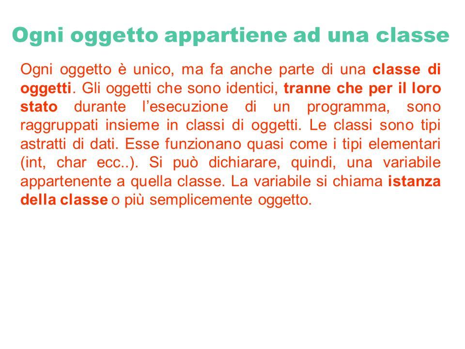 Ogni oggetto appartiene ad una classe Ogni oggetto è unico, ma fa anche parte di una classe di oggetti. Gli oggetti che sono identici, tranne che per