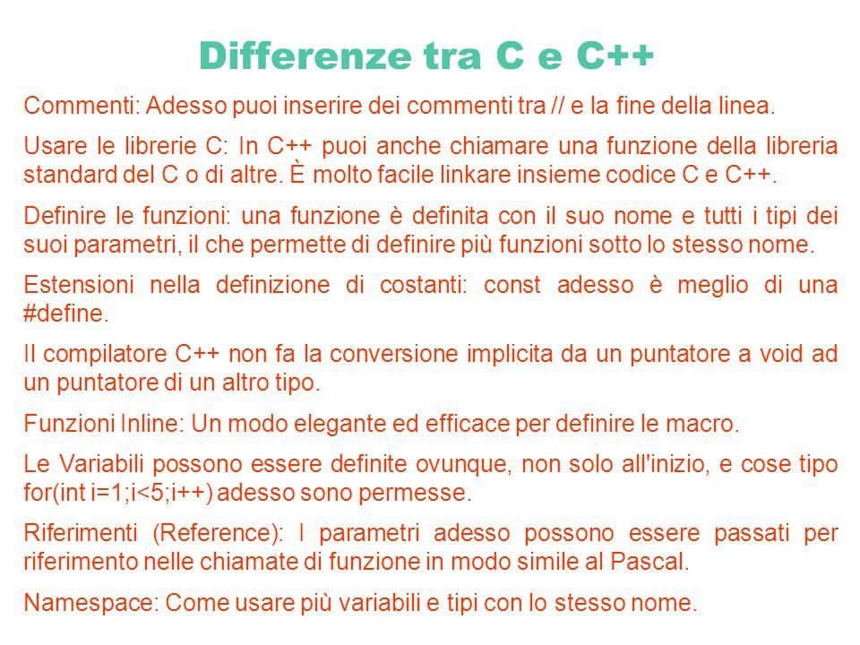 Differenze tra C e C++ Commenti: Adesso puoi inserire dei commenti tra // e la fine della linea. Usare le librerie C: In C++ puoi anche chiamare una f