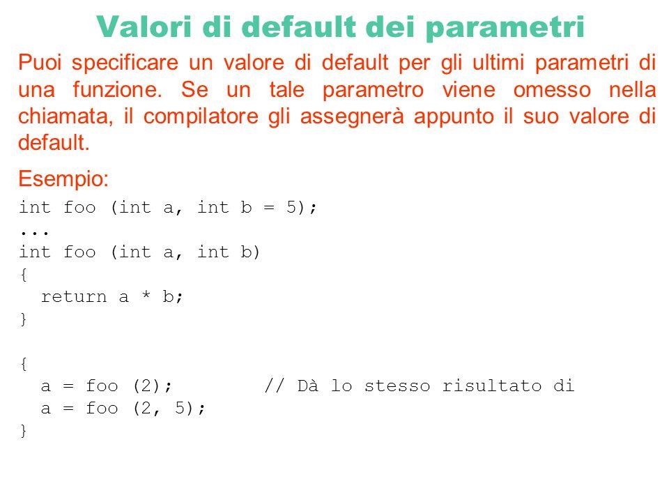 Valori di default dei parametri Puoi specificare un valore di default per gli ultimi parametri di una funzione. Se un tale parametro viene omesso nell