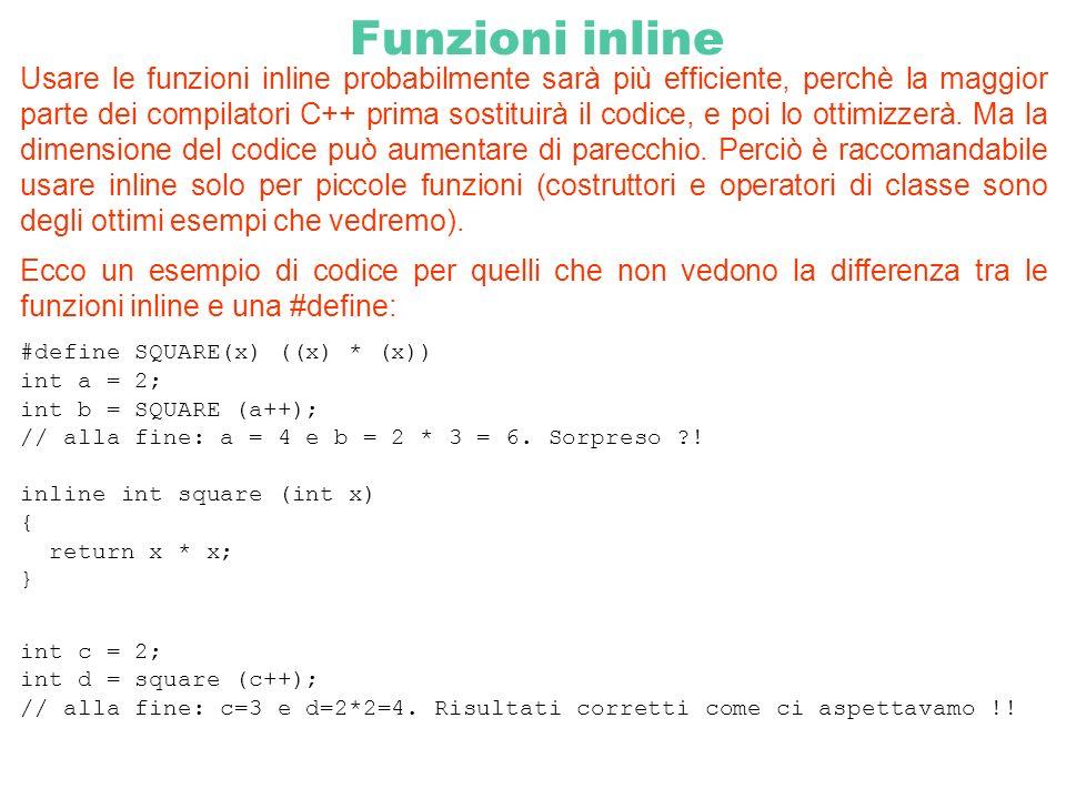 Funzioni inline Usare le funzioni inline probabilmente sarà più efficiente, perchè la maggior parte dei compilatori C++ prima sostituirà il codice, e