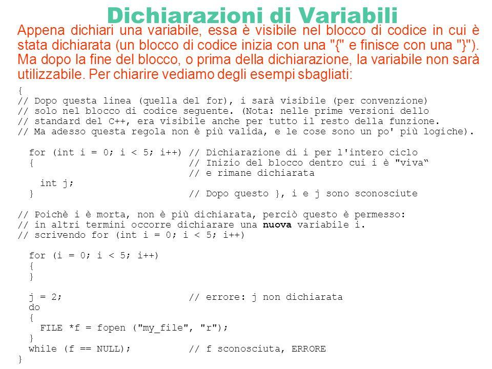 Dichiarazioni di Variabili Appena dichiari una variabile, essa è visibile nel blocco di codice in cui è stata dichiarata (un blocco di codice inizia c