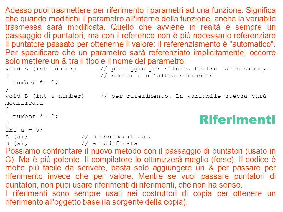 Riferimenti Adesso puoi trasmettere per riferimento i parametri ad una funzione. Significa che quando modifichi il parametro all'interno della funzion