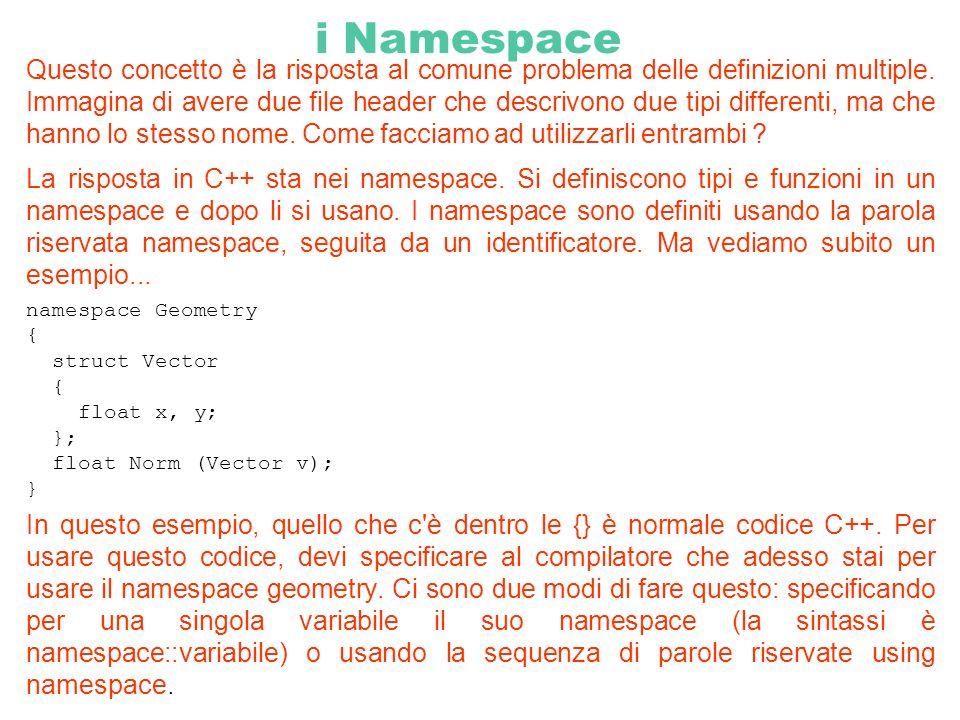 i Namespace Questo concetto è la risposta al comune problema delle definizioni multiple. Immagina di avere due file header che descrivono due tipi dif